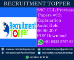 SSC CGL Previous Papers with Explanation Audit Held 09.09.2001