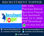 SSC CGL Previous Solved Question Papers Tax Assistant Held 12.11.2006