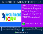 SSC CGL Solved Previous Papers Tier 1 Paper 2 Held 16.09.2012