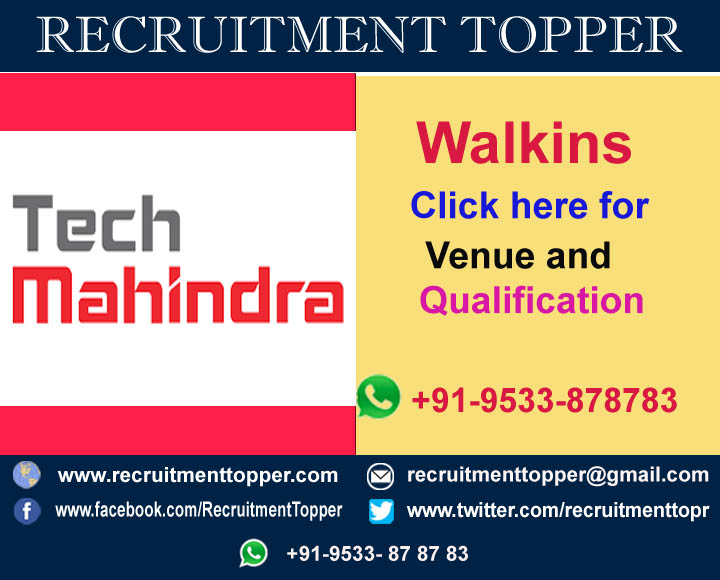 Tech Mahindra Walkins For Experienced At Pune Recruitment Topper
