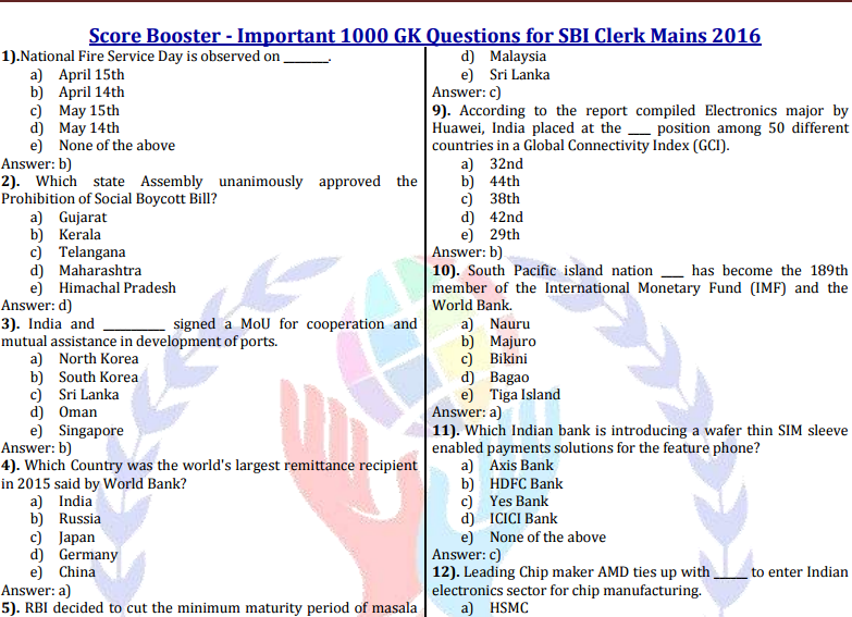 download-sbi-clerk-mains-examination-gk-questions