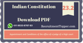 Appointment and Conditions of the office of a Judge of a High Court