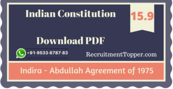 Indira – Abdullah Agreement of 1975 | Indian Constitution Download PDF