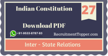Inter – State Relations | Indian Constitution Download PDF