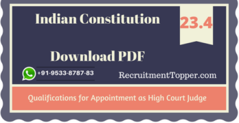 Qualifications for Appointment as High Court Judge